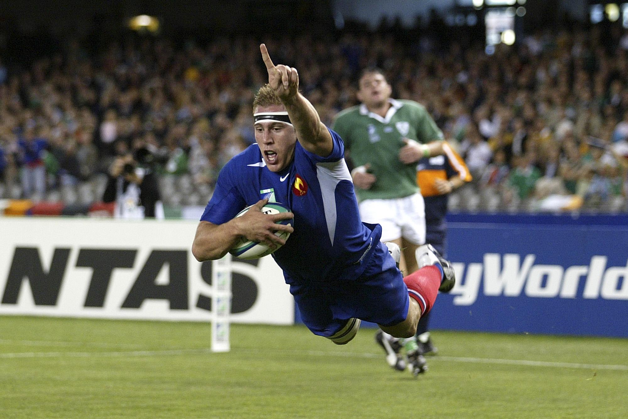 Essai Imanol Harinordoquy (France vs Irlande, Melbourne, AUSTRALIE, Coupe du Monde 2003) Copyright JEAN-MARIE HERVIO
